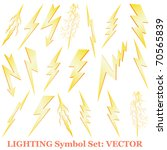 Lightning set isolated on white vector - stock vector
