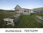 Abandon timber mill in west Iceland - stock photo