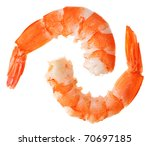 Two cooked unshelled tiger shrimps isolated on white - stock photo