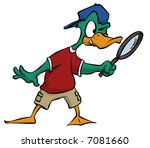 A cartoon duck searching for some clues using his handy magnifying glass. - stock photo