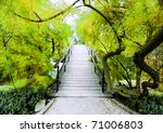Japanese bridge - stock photo