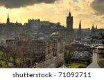 Edinburgh vista from Calton Hill including Edinburgh Castle, Balmoral Hotel and Scott Monument - stock photo