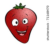 A happy cartoon strawberry. - stock photo