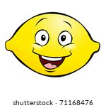 A happy cartoon lemon. He's not too sour. - stock photo