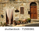 sunny entrance to the tuscan home, Italy, Europe - stock photo