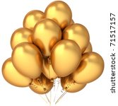 Gold birthday balloons luxury golden. Glamour modern party decoration. Merry Christmas Happy New Year holiday celebration greeting card. Detailed 3d render. Isolated on white background - stock photo