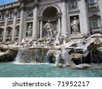 Famous tourist destination, Trevi Fountain, Rome, Italy - stock photo