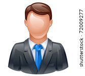 vector illustration of man in business suit as user icon - stock vector
