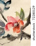 Chinese traditional ink painting, flower, on art paper. - stock photo