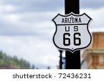 Route 66 road sign in Arizona - stock photo