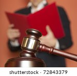 Gavel & male judge - stock photo