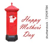 Mother's Day card posted in a red Victorian postbox - stock photo