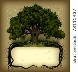 Raster version of old-fashioned banner with fairy-tale rooted oak tree - stock photo