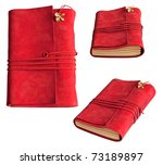 Red cute diary - stock photo
