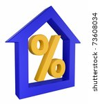House model with percent sign - stock photo