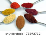 Assorted spices on spoons, isolated on white background - stock photo