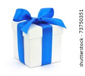 White gift box with a blue bow on white background - stock photo