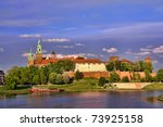 Royal Wawel Castle reflecting in the Vistula river, Krakow - Poland - stock photo