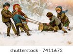 Children dragging home a Christmas Yule Log - a circa 1911 vintage illustration - stock photo