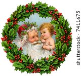 Santa Claus and baby within Christmas Wreath - a circa 1909 vintage illustration - stock photo
