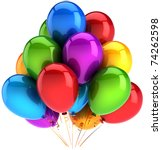 Birthday party balloons multicolor. Happy Birthday anniversary retirement graduation decoration. Shiny colorful positive icon concept. Detailed 3d render. Isolated on white background - stock photo