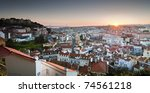 Panoramic of Lisbon from the hill - stock photo