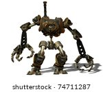 3D Rendering Steampunk robot from the future - stock photo