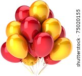 Party balloons bunch yellow red colors. Happy birthday greeting card decoration. Happiness joyful joy fun positive emotion abstract. Detailed 3d render. Isolated on white background - stock photo