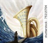 man standing on bridge near tuba house in ocean in fantasy world, digital painting - stock photo