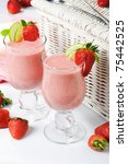 strawberry milk cocktail - stock photo