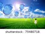 Soap bubbles flying - stock photo