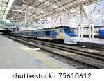 KTX is a hi-speed train in Korea. - stock photo