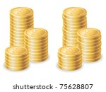 Gold dollar coins. Vector illustration - stock vector