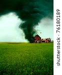 Tornado destroying a house - stock photo