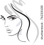 beauty girl face. design elements. Vector Illustration - stock vector