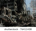 Ground Zero Ruins World Trade Center on 9-18-2001 - stock photo
