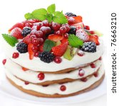 Cake with fresh fruits isolated on white background, soft focus - stock photo