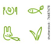 veggie signs - dish with fish and rabbit with grass - stock vector