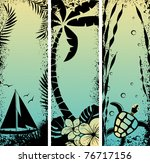 set sea grunge banners. Vector illustration - stock vector