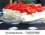 Strawberry cake with cream - stock photo