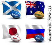 3D Render of 4 of the 20 participating nations in the rugby world cup. Ball colors depict the colors that the team usually wears. Australia, Japan, Russia, Scotland - see other images for other teams - stock photo