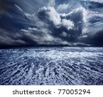 background ocean storm - stock photo