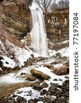 Borer's Falls in hamilton ontario in the Winter - stock photo