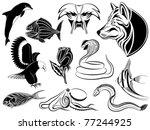 Set of various tattoos with animals, birds, fishes and a flower - stock vector