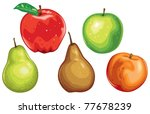 Apples Pears and a Peach - stock vector