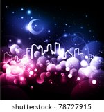 Abstract night city vector background - stock vector