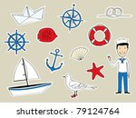 funny nautical set - stock vector