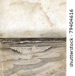 Vintage sea shore drawing - stock photo