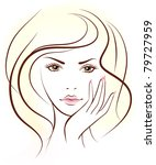 beauty woman face. Vector illustration - stock vector
