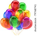 Balloons birthday party celebrate decoration multicolor translucent. Happy joy fun abstract. Holiday anniversary celebration greeting concept. Detailed 3d render. Isolated on white background - stock photo